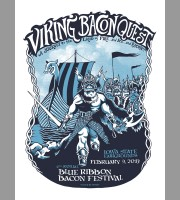 Blue Ribbon Bacon Fest: Viking Bacon Quest Des Moines, IA Poster, 2013 Unitus
